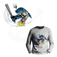 Wholesale Iron Patches Baseball - SUPERSONIC SPEED baseball shark stickers Iron on patch T-shirt Sweater thermal transfer paper Patch for clothing