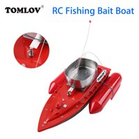 Wholesale Rc Boats Fishing - TOMLOV T10 Electric RC Fishing Bait Boat Lure Carp Hook Wireless Boat Carrier Red 300M Remote Control For Fish Finder