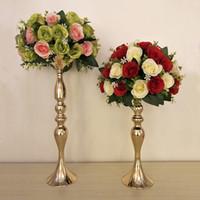 masa için vazolar toptan satış-Mumluklar Çiçek Vazo Raf Şamdan altın şerit Düğün dekorasyon Masa Merkezinde Olay Yol Kurşun Mum Standları