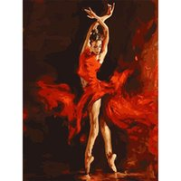 Wholesale canvas print unframed resale online - Diy Digital Printing Paintings Art Flaming Dancer Oil Painting Pure Creative Eco Friendly Hand Painted Wall Decor Frameless zc jj
