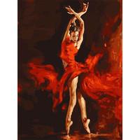 sanat resim dansçıları toptan satış-Diy Dijital Baskı Resim Sergisi Sanat Flaming Dancer Yağlıboya Saf Yaratıcı Eko Dostu El Boyalı Duvar Dekor Çerçevesiz 13zc jj