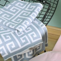 Wholesale towel material resale online - Luxury designer blanket geometric pattern high quality cotton material knitted blanket shawl home textile decorative blanket cm