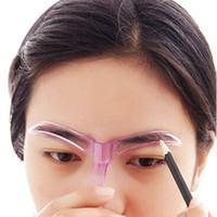 трафареты для бровей оптовых-1 Pc Eyebrow Stencils Shaping Grooming Eye Brow Make Up Model Template Reusable Design Eyebrows Styling Tool