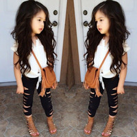 Wholesale wholesale clothing for girls for sale - Summer baby girls clothes outfits short sleeve shirts hole leggings set fashion suit for kids girls clothing sets