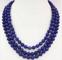 """Wholesale Lapis Lazuli Pearl Necklace - 3 rows beads necklace blue lapis lazuli 8mm natural stone round chain 17-19"""""""