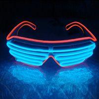 неоновые очки оптовых-LED Sunglasses Flashing EL Wire Luminous Light Up Neon Glasses Costumes Party Decorative Lighting Activing Props Gifts Y