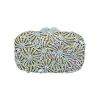 öpücük kilitler toptan satış-Lüks Öpücük Kilidi AB Renk Çiçek Kristal Akşam Çanta ve Kadınlar için Debriyaj Çanta