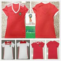 camisa de futebol em branco s venda por atacado-2018 Copa do mundo Mulheres Camisa de Futebol de Marrocos 10 ZIYECH 5 BENATIA EL AHMADI BOUTAIB BOUSSOUFA Em Branco Personalizado Casa Vermelha Camisa Dos Homens de Futebol