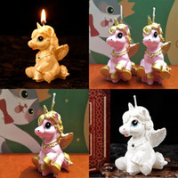 Wholesale pink colored animals - High Quality Unicorn Candle Happy Birthday Party Wedding Christmas Candles Decoration Stable Centerpieces Supplies Hot Sale 6 9sd hh