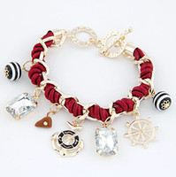 Wholesale bracelets stone alloy resale online - Anchor Bracelet Fashion Women Jewelry Wind Wheel Stone Multi Element Pendant Charms Bracelets Braided Bracelet