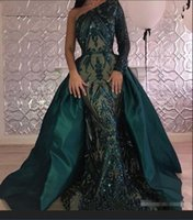 Wholesale Bamboo Carpets - Luxury Dark Green Evening Dresses 2018 One Shoulder Zuhair Murad Dresses Mermaid Sequined Prom Gown With Detachable Train Custom Made