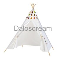 Wholesale teepee tents - DalosDream Indian Design Children Teepee Owl Pattern Children Teepee Tent 100% Cotton Canvas Playhouse Kids Teepees For