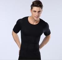 erkekler vücut şekillendirici gömlek toptan satış-Yükseltildi sürüm erkek Vücut Şekillendirme Kısa Kollu t-shirt Bel Karın Göğüs Dikişsiz Iç Çamaşırı Vücut Şekilli Tayt