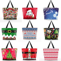 Wholesale snowflake clothing online - 3D Digital Printing Shopping Bags Portable Cute Anti Pilling Handbag Happy Christmas Elk Snowflake Pattern Storage Bag Practical nd BB