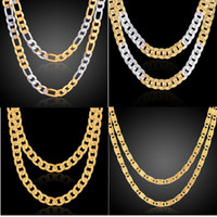 Wholesale 14k Gold Figaro Chain - 2018 Fashion Men Women 18k gold plated Necklace 24inch Exquisite Sideways Chain Party Gifts snake chain Accessories N9002 N6003 N120 N002