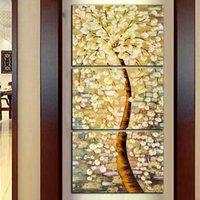 painéis de flores de pintura a óleo venda por atacado-Frete Grátis 3 Painéis HD Impressão Abstrata Da Árvore Amarela Flor Pintura A Óleo Sobre Tela Home Decor Wall Art Imagem Para Sala de estar