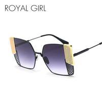 черные розовые очки рамы оптовых-Королевская девушка квадратные солнцезащитные очки женщин 2018 бренд дизайнер Черный Розовый металлический каркас солнцезащитные очки для женщин градиент Oculos UV400 SS313