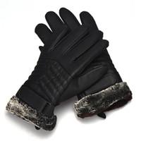 guantes blancos largos y calientes al por mayor-# 4522 1Pair Anti Slip Men Thermal Winter Leather Guantes
