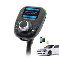 Wholesale bluetooth handsfree car kit for iphone online - New BT002 Bluetooth Handsfree FM Transmitter Car Kit MP3 Music Player Radio Adapter With Remote Control For iPhone Samsung LG Smartphone
