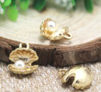 Wholesale 5pcs earring for sale - Group buy 5pcs D Shell with Pearl Charms mm x mm gold t Metal Finding Pendant Bracelet Earrings Zipper Pulls Keychains