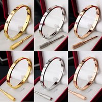 Wholesale gold bangles hand resale online - Rose Gold Screwdriver Bracelet Titanium Steel Love Hand Ring Women Men Couple Jewelry Bangle Hot Sale ff Ww