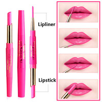 Wholesale red lip flowers resale online - Music Flower Lipstick Lip Liner in Lip Pencil Waterproof Rose Red colors Lipliner Nude Matte Lipstick