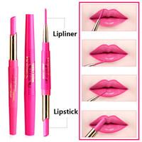 ingrosso fiori di labbro rosso-Rossetto per labbra Music Flower Lip Liner 2 in 1 Matita per labbra Rossetto Nude opaco per rossetto rosa 12 colori impermeabile