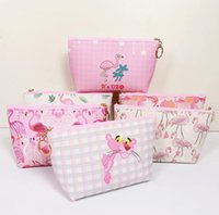 saco cosmético kawaii venda por atacado-Kawaii Dos Desenhos Animados Pantera Cor de Rosa Saco de Cosmética Bonito Leopardo Rosa Pacote de Bolso Flamingo Make up Bag Saco De Armazenamento Lápis Caso