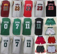 Wholesale Kids Girls Pants - Youth Basketball Jerseys Boys Shorts 23 Michael 23 LeBron James 11 Kyrie Irving 7 Jaylen Brown 0 Jayson Tatum Pants White Red Man Kids Girl