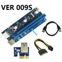 adaptador riser venda por atacado-VER 009S VER009S PCI-E PCI Express 6Pin Molex para SATA 1X 16X Riser Card Adaptador USB 3.0 Extensor LED Mineração 30 conjuntos / lote
