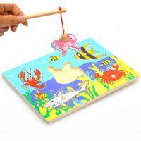 детские игрушки для детей оптовых-Дети Рыбалка головоломки детские игрушки деревянные магнитные 3D головоломки забавная игра игрушка для детей подарки FJ88