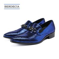 zapatos azules de la boda del brillo al por mayor-2018 Hombres de Royal Blue Luxury Party Wedding Men zapatos italianos de cuero genuino zapatos formales resbalones en zapatos de vestir de negocios Tamaño 38-47