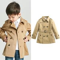 kızlar için vintage bebek kıyafeti toptan satış-Bebek Vintage Kadife Ceket Erkek Kız Giysi Tasarımcısı Rüzgar Geçirmez Ceket İngiliz Kruvaze Rüzgarlık Turn-down Yaka Düğmesi Kemer Çocuklar