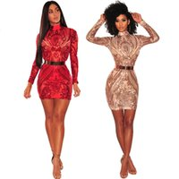 Wholesale ladies hot red night dress - 2018 HOT Sale New Arrival Fashion Women Sexy NIGHT Club Sequined Mini Dresses Ladies Bodycon Party Bandage Bodysuits Spring VESTIDOS Dresses