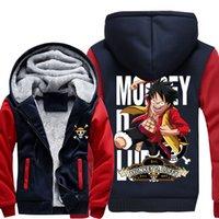 zoro sanji großhandel-Neue Hochwertige One Piece Hoodie Anime Lorenor Zoro Sanji Luffy Cosplay Mantel Jacke Winter Männer Dicke Zipper Warme Sweatshirt