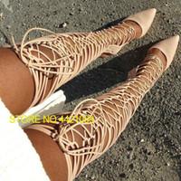 knie hochhackige gladiator sandalen großhandel-Nude Suede Echtleder Cross Tie Gladiator Lace Up Oberschenkel hoch über dem Knie High Sandal Boots Sexy Spitz Toe Heels