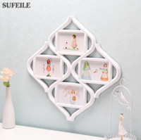 Wholesale Material Combinations - SUFEILE 1PC Rhombus Combination Frame 4 photos frame Plastic material Family Bedroom decoration Picture on wall SI3D5