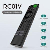 aprender c venda por atacado-Voz controle remoto teclado sem fio 2.4G AirMouse para caixa de Android Sistema de TV mini teclado com controle de voz com a aprendizagem e botão C
