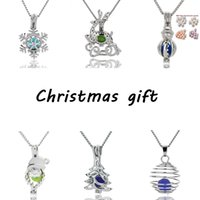 50ps Pearl Cage Pendant Necklace With Oyster Pearl Christmas tree snowman deer Santa Hollow Locket Clavicle Chain pearl Necklaces jewelry