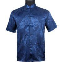 синий костюм с коротким рукавом оптовых-Top Vogue Navy Blue Men's Silk Satin Shirt Top Chinese Vintage Short Sleeve Garment  Tang Suit S M L XL XXL XXXL