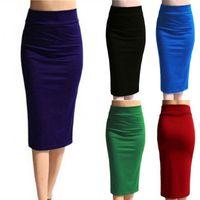 Wholesale sexy slimming mini skirt - 2018 New Women Skirt Mini Bodycon Skirt Office Women Slim Knee Length High Waist Stretch Sexy Pencil Skirts Jupe Femme AQ801944
