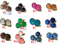 Wholesale earring fish - wholesale 12mm Stainless Steel Resin Fish Scale Earrings Bright Mermaid Scale Cabochon Stud Earrings for Women Jewelry Gift