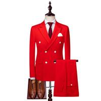 ingrosso giacche da uomo con cerniera-Vestito a tre pezzi del vestito doppiopetto rosso degli uomini su misura (giacca + pantaloni + gilet) vestito convenzionale dello sposo di cerimonia nuziale del vestito convenzionale degli uomini