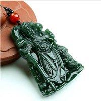 ingrosso scatole di amuleti-Super Natural XinJiang gr giada Carven GuanYu Pendente Amuleto Collana Buddha Sling Gioielli regalo con scatola