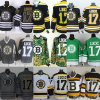 boston jersey lucic venda por atacado-Atacado Mens Bruins Boston 17 Milan Lucic Preto Camo Verde Branco Barato Camisas de Desporto Costurado Bordado Melhor Qualidade de Hóquei Jerseys
