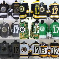 ingrosso boston jersey lucic-Mens all'ingrosso Boston Bruins 17 Milano Lucic Nero Camo Verde Bianco Maglie sportive economici Ricamo cucito Maglie Hockey di alta qualità