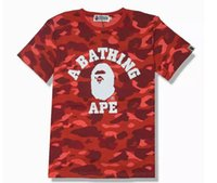 Wholesale Teenagers Casual Shirts - 2018 Red Camouflage T-Shirts For Teenager Fashion Brand Cartoon T-Shirts Summer Plus Size Leisure T-Shirts For Man Short Sleeve Lapel Shorts