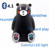 Wholesale bear speakers - Portable bear wireless speaker with humidifier support TF card play,hands-free call,Animal Cartoon Pet Humidifier LED Light MP3 Bear Speaker