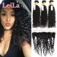 Wholesale Deep Wave Bundle Hair - Human Hair Extensions Weft Malaysian Deep Wave Curly 3 Bundles With 13X4 Lace Frontal Hair Weaves Hair Bundles With Frontal 4 Pieces lot