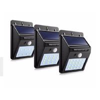 paneles solares al por mayor-8/16/20 LED Panel de luz Solar Panel Impermeable PIR Sensor de movimiento Lámpara de pared Valla de jardín Camino al aire libre Iluminación del jardín de la calle